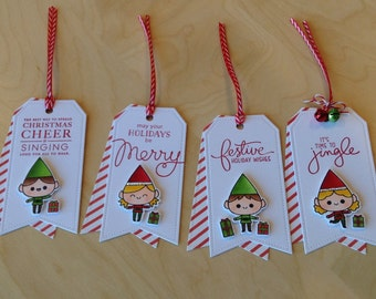 Christmas Gift Tags, Holiday Tags - Set of 4