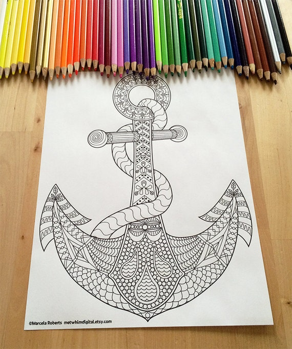 anchor coloring page for adults anchor adult coloring page instant digital download of a printable nautical coloring page