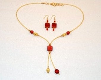Red murano glass square dngle necklace earrings