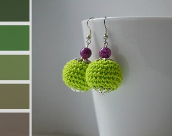 Green Crochet Round Earrings with purple beads