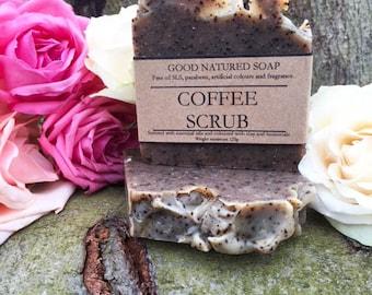 Coffee scrub handmade natural shea butter soap