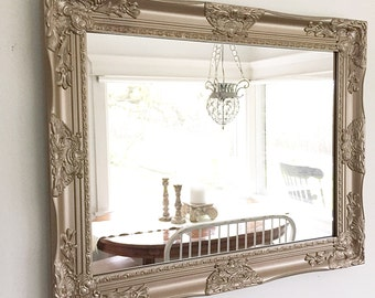 Large Salon Mirror, French Country Mirror, Gold Mirror, Large Mantle Mirror, Nursery Wall Mirror, Leaning Mirror, Shabby Chic Mirror