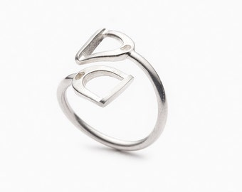 """Equestrian ring """"Double stirrups"""" silver sterling 925"""