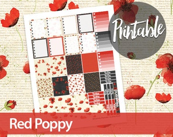 50% off! Red Poppy Weekly Kit - Erin Condren Printable Planner Sticker - Ombre To Do Lists, checkboxes, washi and weekend