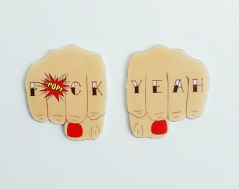 Sweary magnets // F*ck Yeah magnet set // fridge magnets // quirky magnets // shrink plastic magnets