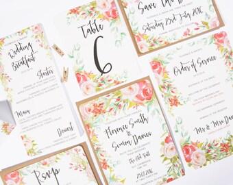 Spring Blossom Printed Wedding Invitation Set, Wedding Invitation, Save the Date, Wedding RSVP, Wedding Menu, Wedding Table Numbers