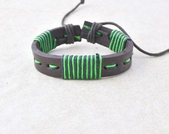 leather bracelet • men women • green