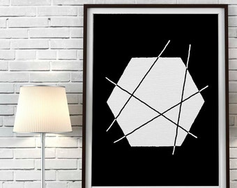 Scandinavian Geometric folk art Print Minimalist Printable Art Geometric Printable Black and White Art Nordic Wall Art Black Geometric Art