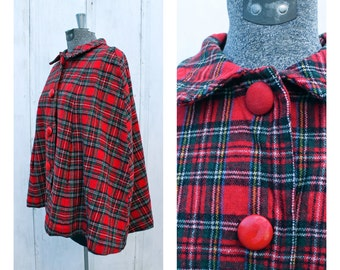 1960's/ 1970's Wool Tartan Plaid Cape with Covered Buttons