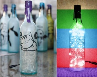 New- Sleeping Kitten - Wine Bottle Light - Frosted Pale Blue - Customizable + Color(s)&Adapter(s)- Cat Gift For Him or Her.