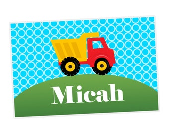 Construction Truck Placemat - Construction Placemat, Dump Truck Personalized Laminated Placemat, You Pick Truck - Kids Personalized Gift
