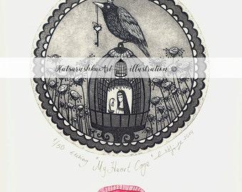 Etchings&Engravings,Original,Printmaking,Handmade,Women,Freedom,Love,Hope,Key,Bird,Key,Cage, Crow, Red, Black,Seal,Letter,Flower,Trust,Heart