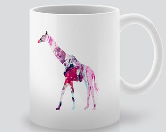 Printed Giraffe Mug - Animals Art Mug - Colorful Coffee Mug -  Watercolor Mug - Ceramic Tea Mug