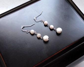 Silver Dangle Hook Earrings / White Beads / Handmade / Birthday Gift / Mother's Day Gift