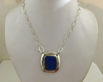 Sterling silver pendant with blue druzy square on a sterling silver chain