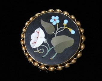 Antique Victorian Pietra Dura Brooch - Circa 1860 - 15ct Gold