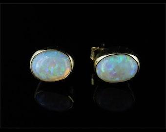 Wonderful Opal Solitaire Gold Stud Earrings