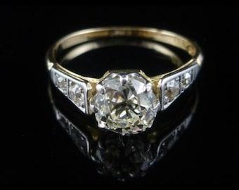 Antique Engagement Ring - Edwardian - 1.70CT Old Cut Diamond Solitaire 18CT & Platinum Ring