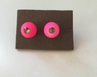 Hot pink stud earrings