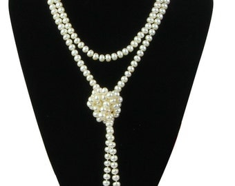 160cm Long 6-7mm Button Long Pearl Necklace Strand,Long Sweater Pearl Necklace Design, Two strand Pearl Necklace, Three Strand Necklace