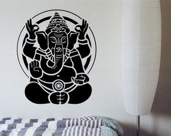 Meditating Om Ganesha Decal