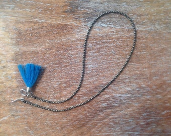Nice necklace with pyrite and blue tassel