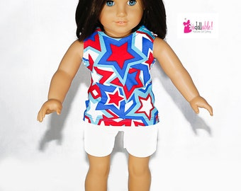 Special Sale 18 inch Girl Doll Clothing, Red/White/Blue/Turquoise Star Top, White Shorts made to fit like American girl doll clothes