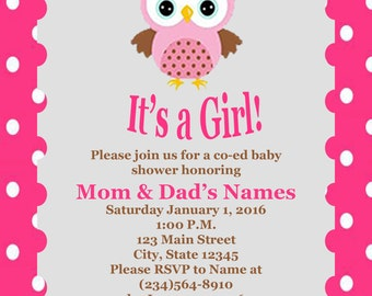 Its a Girl - Owl Co Ed Baby Shower Invitation Digital Download