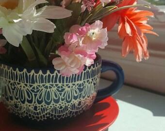 Navy Lace Teacup