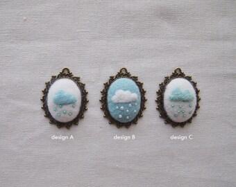 Needle felted pendants | Rainy day needle felted pendants | Rain and cloud