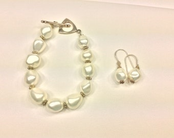 Baroque Pearl Earring and Bracelet Set