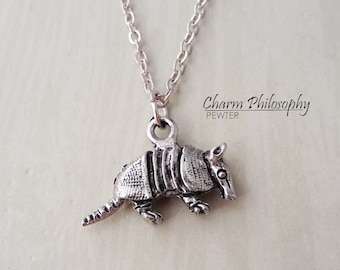 Armadillo Necklace - Antique Silver Pewter Jewelry - Silver Reversible Armadillo Charm