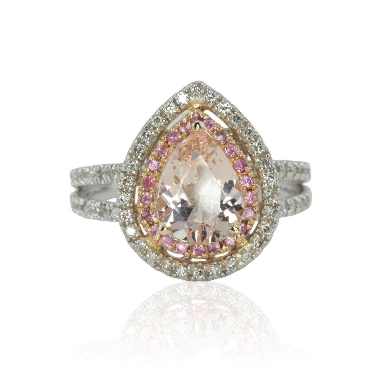 Morganite Engagement Ring 25% off Pear Cut Morganite and