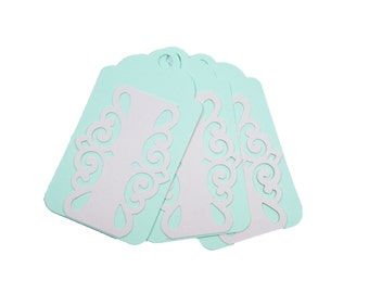 Set of 7 Shabby chic gift tags, Mint tags, Embellishment tags, Pastel Pink tags, Pastel green tags, Cutout green tags, Pastel chic tags