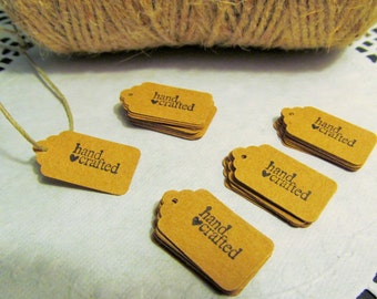 """10-25-50 Kraft Mini Gift Tags - """"Hand Crafted"""" Tags - Food Gift Tags - Favor Tag - Craft Show Tag - Jewelry Tag - Merchandise Tags"""
