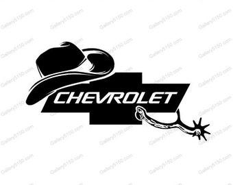 Cowboy Hat, Chevy, Spurs, Chevrolet Decal / Sticker, cowgirl hat, cow boy decals, cowboy decals, cowgirl decals, cowboy hat stickers, chevy