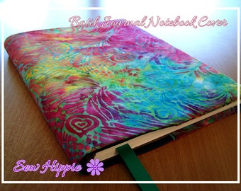Batik Leaves Designer A5 Journal Cover with Lined Notebook or Visual Arts Diary