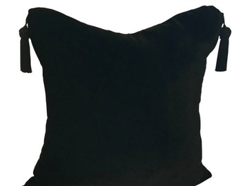 Velvet and SILK Throw Pillow with Tassels and Glam Home Accessory for Livingroom and Bedroom in 16x16, 18x18 or 20x20