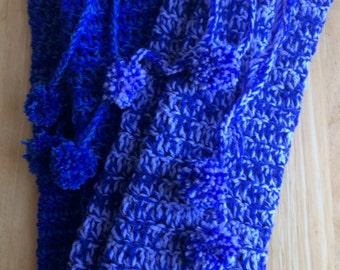 Royal Blue and Light Blue Blend Crochet Leg Warmers