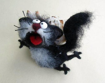 Felt cat brooch , felt cat, black, Toys, Felt doll, Handmade toys, Needle felting, Felt toys, brooch, gifts, Gifts for her, Unique gifts