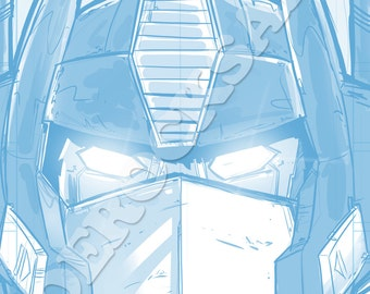 Optimus Prime Blue Pencil Face Sketch