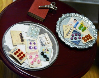 Dollhouse Miniature Button Cards -SET OF 2- Vintage Buttons 1:12 Sewing Accessory Dollhouse Mini 12th Scale Jewels Pearl Fabric Shop Roombox
