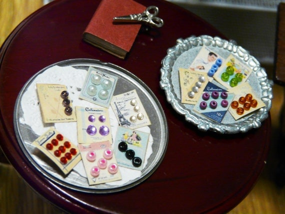 Miniature sewing button cards for dollhouse