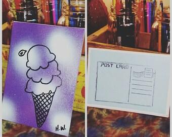 Canvas painted Ice Cream cone Postcard