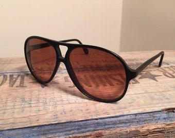 Vintage Serengeti Drivers sunglasses // Black Aviators // rare Vintage // mens sunglasses // 80s