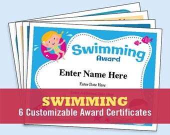 Swimming Certificate Pack, child certificate, kid certificate, Learned how to Swim, Swimming Award, Dive, Swim Mom, swimmer, swim lover