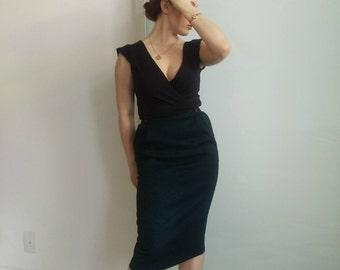 Vintage Dark-Teal Pencil Skirt - Size: S