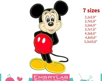 Applique Mickey Mouse. Machine Embroidery Applique Design. Instant Digital Download (16252)