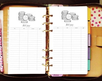 Printable planner inserts personal bill pay budget for Kate Spade Wellesley, Kikki K, Filofax, Webster Pages / INSTANT DOWNLOAD