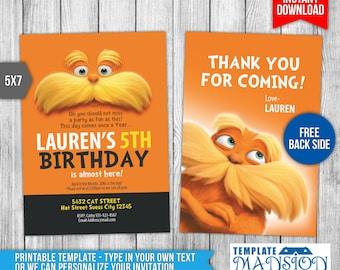 Dr Seuss Lorax Invitation, Dr Seuss Lorax Invitations, Dr Seuss Lorax Birthday Invitation, Dr Seuss Lorax Card, FREE Thank You Card